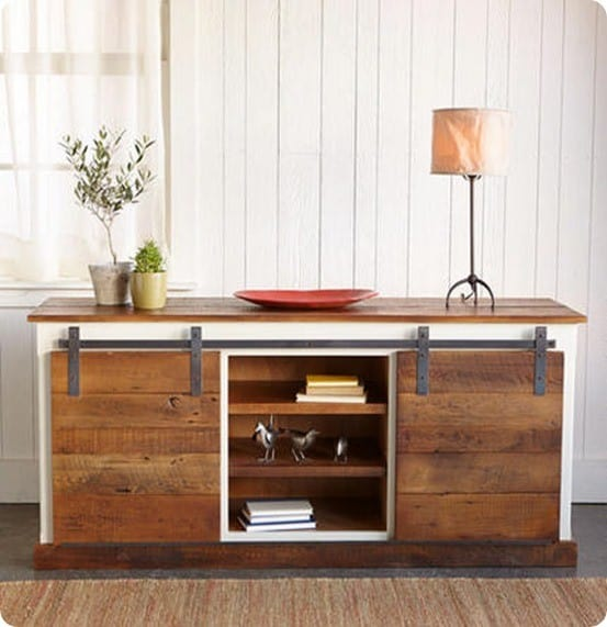 White Farmhouse Sliding Door Cabinet: Sliding Barn Door Console Table