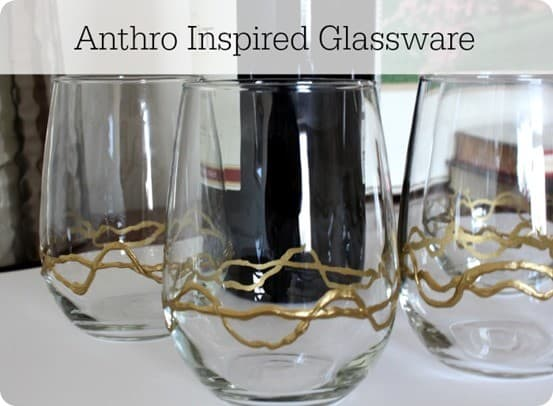 anthro inspired gold glassware