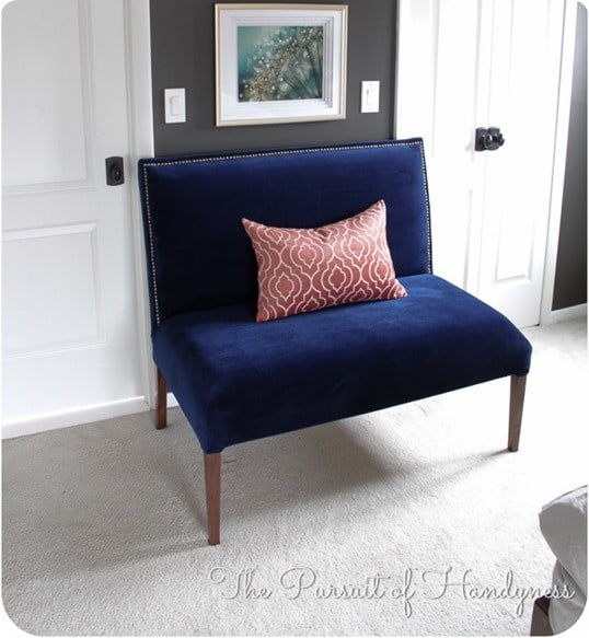 Blue Velvet Upholstered Settee : diy upholstered settee from knockoffdecor.com size 538 x 583 jpeg 67kB