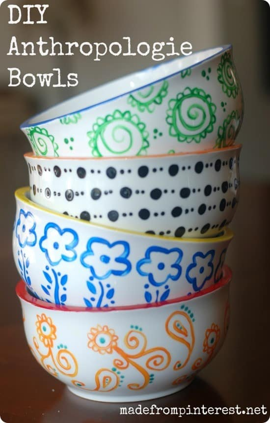 handpainted bowls inspired by anthropologie