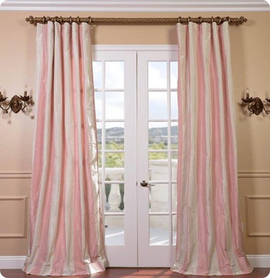 light pink and cream taffeta stripe curtains