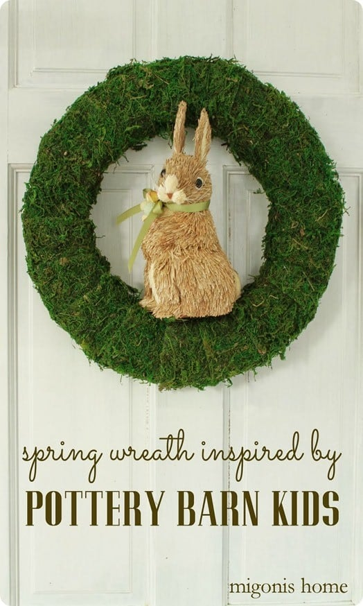 moss and sisal bunny wreath