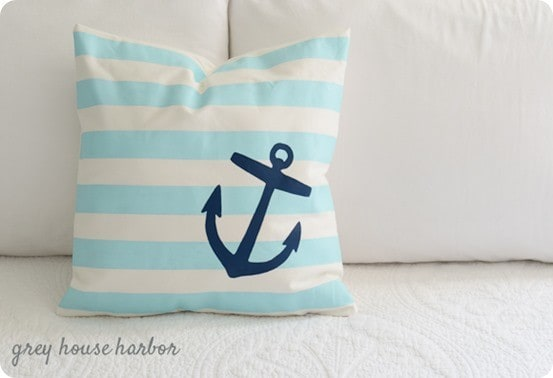 painted nautical pillow