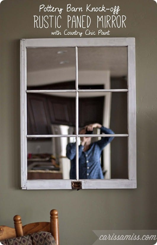 pottery barn knock off mirror from old window