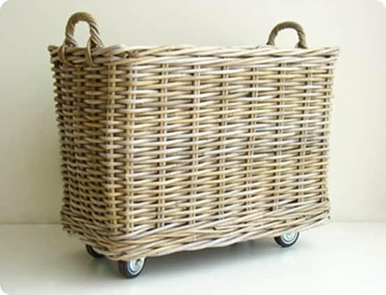 rolling rattan basket