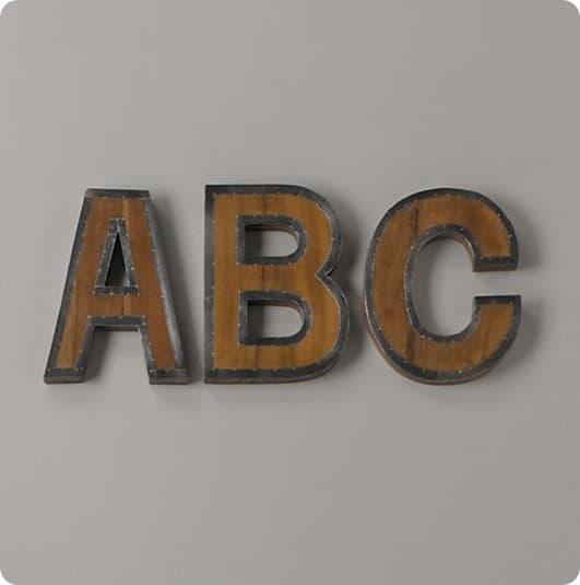 vintage industrial wood and metal letters