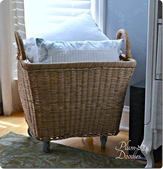 wicker basket with wheels
