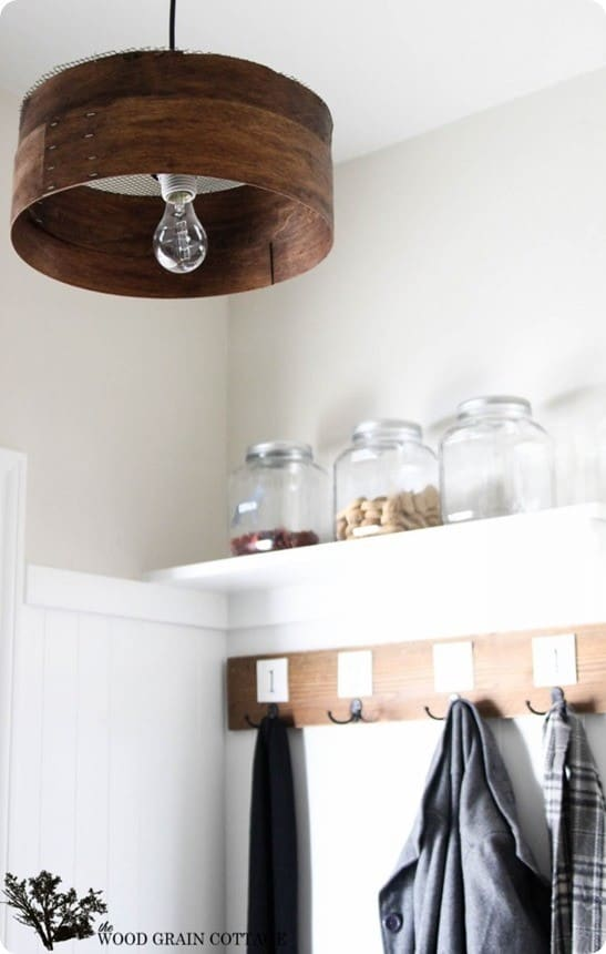 wood grain sieve light fixture