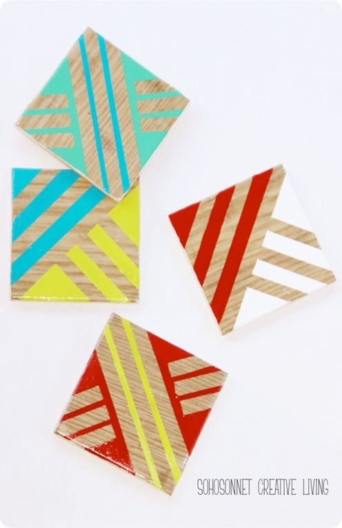 Thrift Store Geometric Coaster Transformation