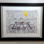 Tandem Bike Dictionary Page Framed Art