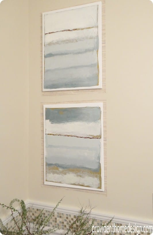 Abstract Sea Paintings for a Peaceful Powder Room
