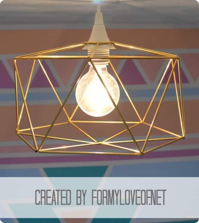 brass himmeli geometric pendant light