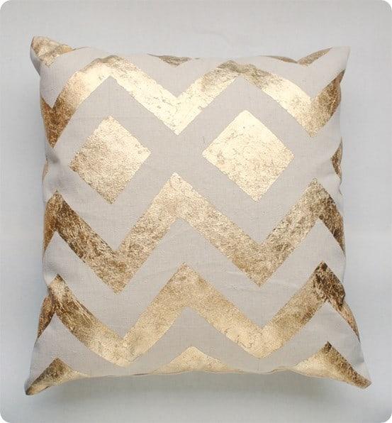 diy metallic gold pillow