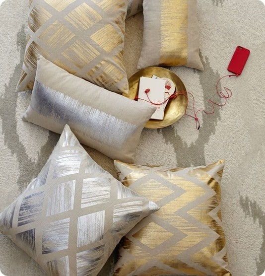 metallic gold pillow covers from west elm