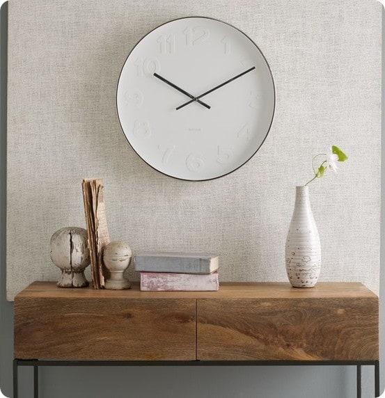 Minimalist White Clock from a Plate – Minimalist Wall Clock