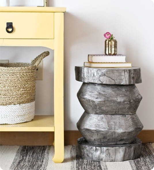 Tree Stump To Metallic Side Table Knockoffdecor Com
