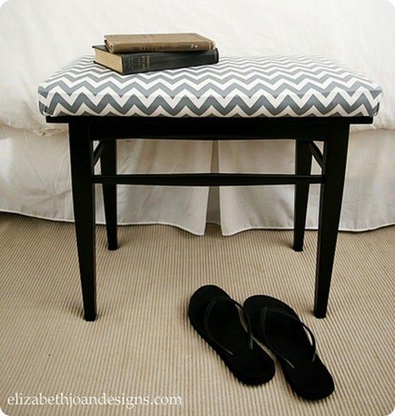 upholstered chevron bench