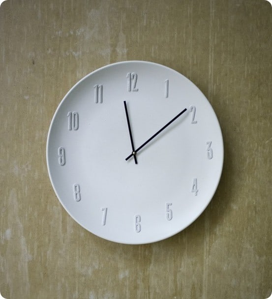 white ceramic wall clock