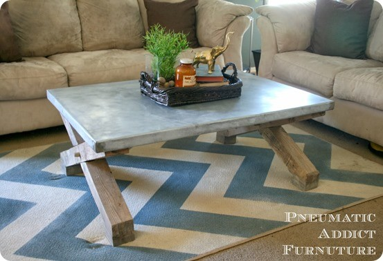 x base coffee table with zinc top