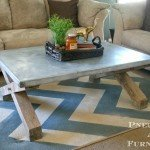 X-Base Coffee Table with Zinc Top