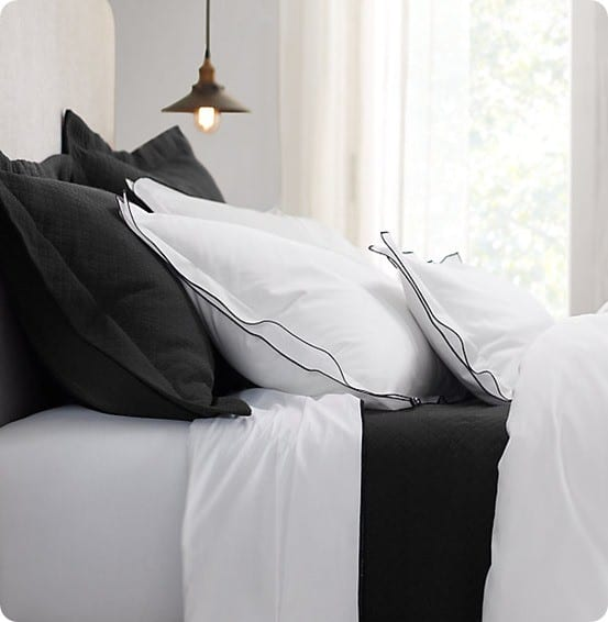 Italian Tipped Satin Stitch bedding