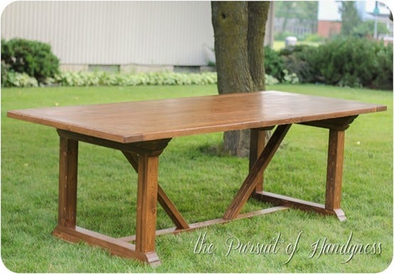 X base outdoor dining table for Diy dining table