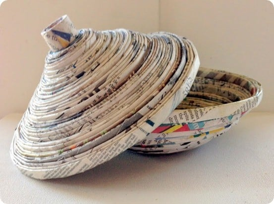 recycled newspaper bowl