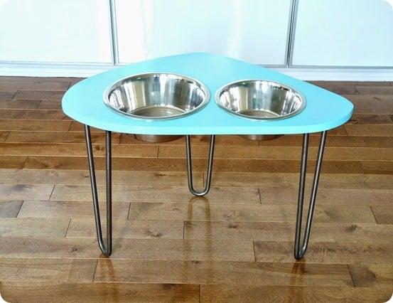 Modern dog bowl stand with hairpin legs