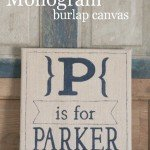 Burlap Canvas Monogram Art