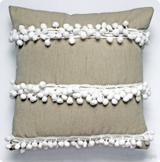 anthropologie inspired pom pom pillow
