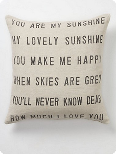 anthropologie you are my sunshine pillow