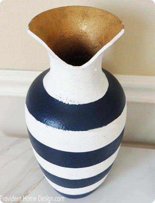 blue and white stripe vase