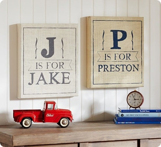 burlap personalized art