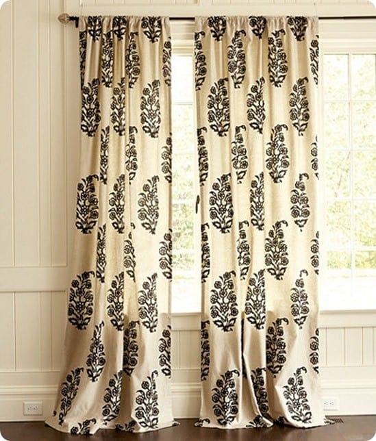 Damasking Stenciled Drop Cloth Curtains