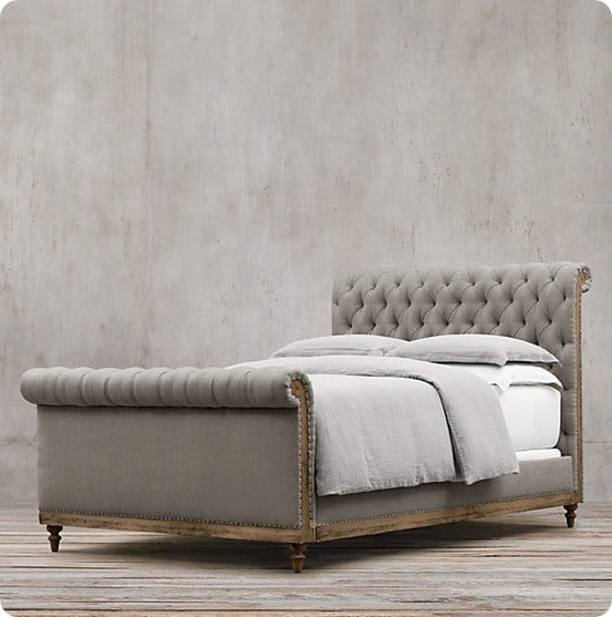 deconstructed chesterfield sleigh bed