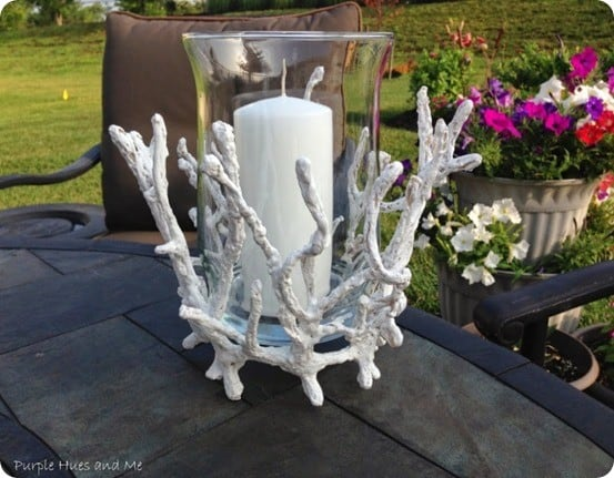 faux coral hurricane candle holder