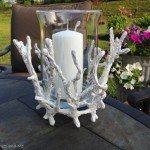 Faux Coral Hurricane Candleholder