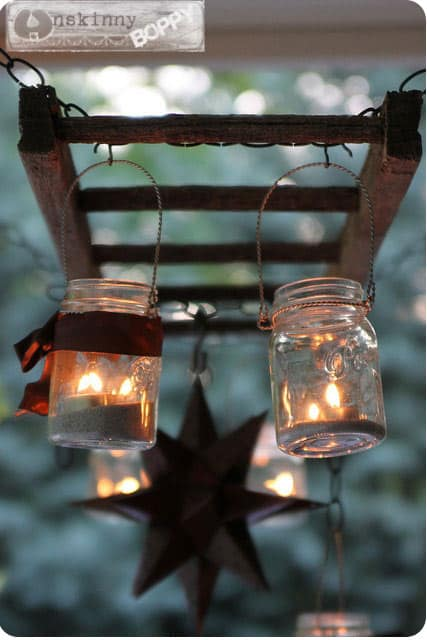 Mason Jar Lanterns on Ladder
