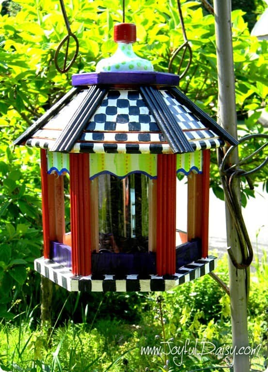 Red Painted Bird Table