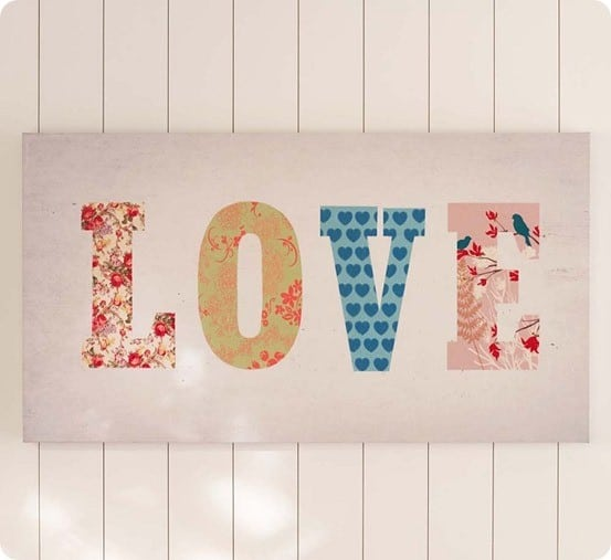 patchwork love canvas art