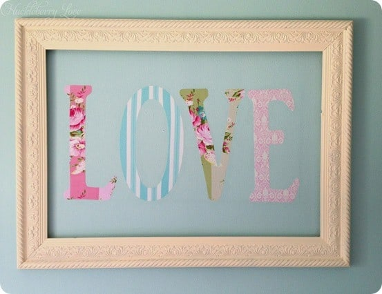 Framed Love Wall Decor : Framed love letter wall art