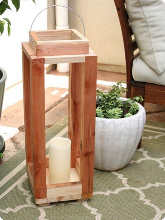 rustic wood lantern