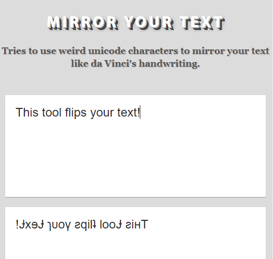 Mirror text generator
