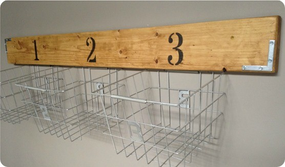 wood and wire wall basket storage
