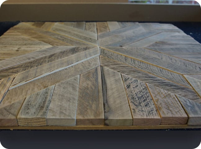 Close-up of reclaimed wood wall art