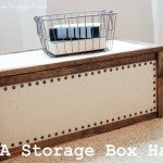 Linen Covered Storage Box with Nailhead Trim