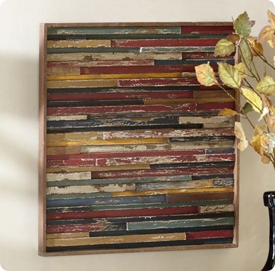 Wood plank wall art goes modern - Wood panel artwork ...