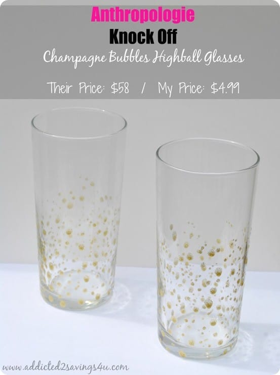 Gold Dotted Glasses For 5 Knockoffdecor Com