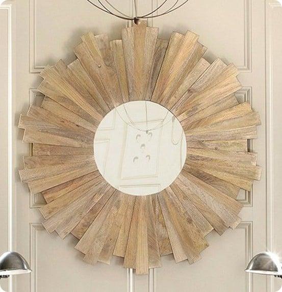ballard rustic wood starburst mirror