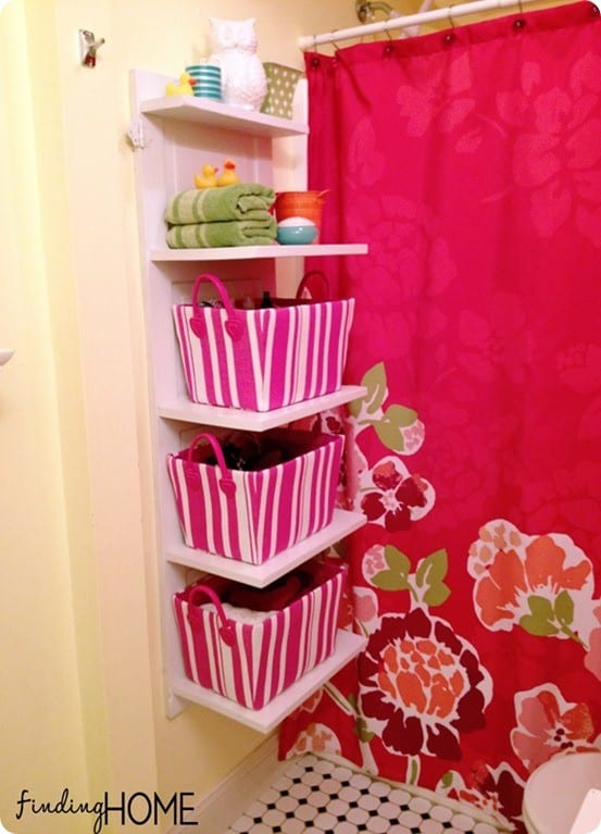 bathroom wall shelves from old door